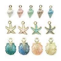 13Pcs/Set Mixed Starfish Conch Shell Metal Charms Pendant DIY Jewelry Making