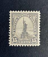 US Stamps, Scott #566 1922 15c Statue of Liberty 2019 PSE Cert - GC XF/S M/NH