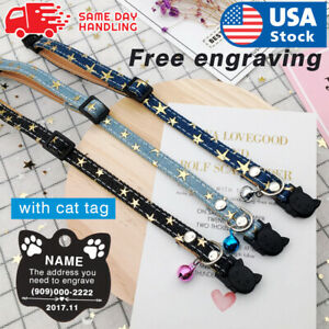 Breakaway Cat Collar Cloth Personalized Quick Release Kitten Pet Engraved ID Tag