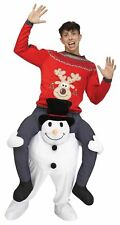 Carry Me On Your Shoulder Snowman Adult Men Women Costume Christmas Ride On A