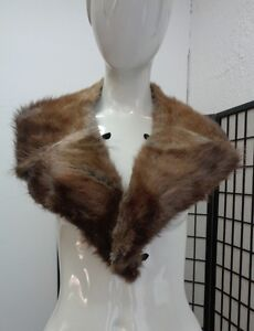 "EXCELLENT NATRAL BROWN MUSKRAT FUR COLLAR WRAP SCARF WOMEN WOMAN 5""X42"""
