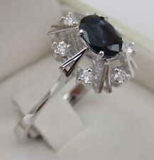 18 CT RING BLU NATURAL SAPPHIRE & DIAMONDS