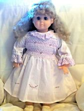 """Doll Clothes fit 22""""- 26"""" Doll -  Lovely Purple Dress with Embroidery & Shirring"""