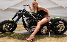 """Motorcycle and Blonde Sensual Girl Mini Poster 13""""x19"""" HD"""