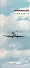 Midwest Express Airlines system timetable 12/2/90 [5112] (buy 4+ save 50%)