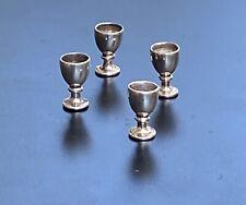 Miniature STERLING SILVER Wine Goblets Dollhouse  tiny - Handmade 4 Glasses
