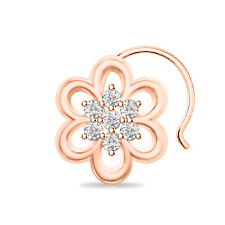 Flower 14K Rose Gold Finish 925 Sterling Silver Cluster Fancy Women'S Nose Pin
