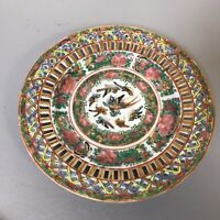 Antique Chinese Porcelain Famille Rose Medallion Reticulated Plate..