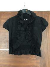 TSEGA Black Cropped Ladies Frill Evening Jacket Size Medium High Neck