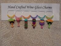 """"""" FUN SUMMER COCKTAILS"""" SET OF 6 HAND CRAFTED Wine Glass Charm drink markers"""