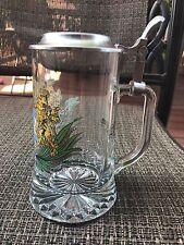"""Bayern German Glass Beer   Mug  w/lid H 7"""""""