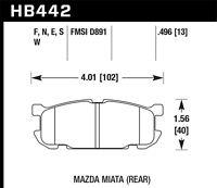 Disc Brake Pad Set-Base Rear Hawk Perf HB442F.496 fits 01-04 Mazda Miata