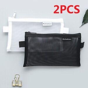 Clear Exam Bag Student Transparent Pencil Case Net Cosmetic Makeups Pouchs 2Pcs