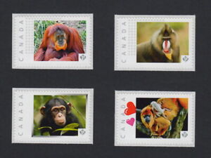 MONKEY Set of 4 Postage Stamps MNH Canada 2015 limited p15/3mk4