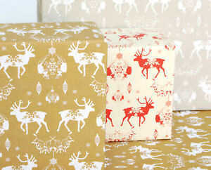 Recycled Wrapping Paper Eco friendly vegetable inks, Christmas Reindeer print
