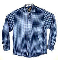 Robert Graham Mens Medium Blue Checkered Floral Flip Cuff Long Sleeve Shirt