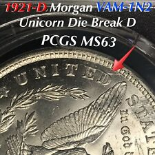 1921-D Morgan VAM-1N2 Unicorn Die Break D, Rare VAM PCGS MS63 LUSTROUS COIN!