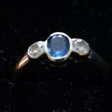 Vintage 18K white GOLD NATURAL 3 stones,DIAMONDS & saphire RING SIZE L, (C2/R5)
