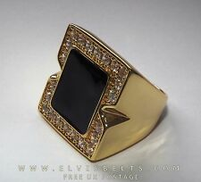 Luxury Elvis crystal black onyx concert ring in 18 gold plate a great ring 12-Y