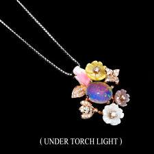 Unheated Oval Fire Opal 10x8mm Mop Cz 925 Sterling Silver Enamel Flower Necklace