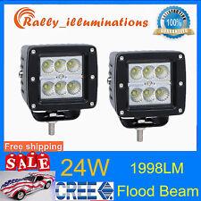 2X 24W CREE LED Work Light Flood Beam Cube 12V24V Offroad Boat ATV Lamp Jeep 18w