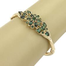 Estate Floral Design Green Tourmaline Gems 14k Yellow Gold Bangle Bracelet