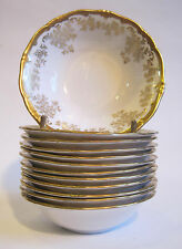 """Weimar Porcelain """"Katharina"""" 5 1/8"""" Berry Bowl White Gold Encrusted Germany"""