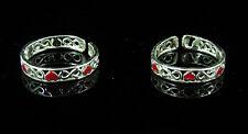 of Enameled Toe Rings - 1248 925 Solid Sterling Silver Beautiful Handmade Pair