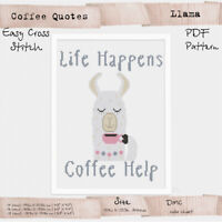 Llama Coffee Quotes motivational quotes Cross stitch Embroidery PDF Pattern #211