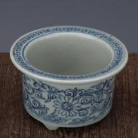 China antique Porcelain Ming wanli blue white hand painting flower Brush pot