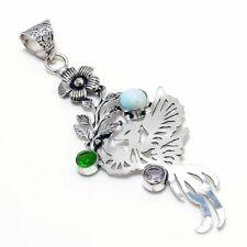 "Republic Larimar, Peridot Gemstone Handmade Ethnic Jewelry Pendant 3.55"" Q296"