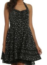 GOTHIC CELESTIAL FALLING STARS AND LACE HALTER SWING DRESS NWT MD ROCKABILLY