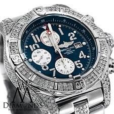 Diamond Breitling Super Avenger A13370 Blue Dial Watch 2 Row Diamond Bezel