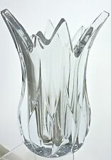 HEAVY GLASS OR CRYSTAL VASE MIKASA LOTUS UNEVEN RIMS MODERN CONTEMPORARY RARE