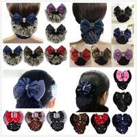 Lady Satin Bow Barrette Hair Clip Cover Net Bun Snood Bowknot Women Girls Bridal