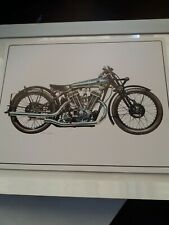 1929 Brough Superior SS100 Bookplate, Mounted and Framed, from a Disbound 1970s