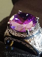 Millionaire AMETHYST  MENS GEMSTONE 18CT BLACK GOLD GF RING SIZE 7. US