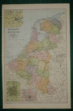 1905 ANTIQUE MAP ~ HOLLAND & BELGIUM BRABANT LIMBURG AMSTERDAM BRUSSELS ANTWERP