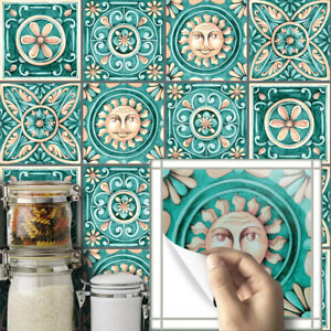 10pcs Green Vintage Self-adhesive Bathroom Kitchen Wall Stair Floor Tile Sticker