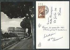 1952 ITALIA FDC MASSAIA - CARTOLINA ROMA COLOSSEO
