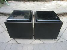 PAIR MID-CENTURY MODERN ROLLING CUBE STOOLS BLACK PATENT LEATHER DOMINO