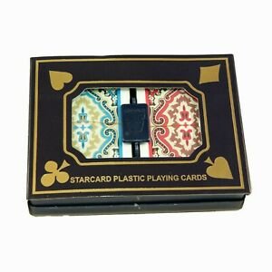 2-Pack Starcard 100% Plastic Playing Cards Set with Case - Washable, Waterproof