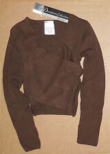NWT Body Wrappers P930 Brown Cross Over Pullover Great Coverup Ladies Size Small