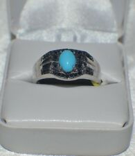 Natural Arizona Sleeping Beauty Turquoise  in Platinum Overlay Sterling Silver