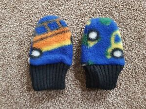 Blue Baby Boy Mittens, age 3-6 months, Cars / Vehicle Themed, Warm and Soft