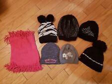 Lot of 7 girls EUC Winter Fall hats benies and neck warmer size 8-12 years