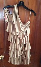 New AM PM by ESPIRAL - Tan RUFFLE One Shoulder Knit DRESS #4793 size M medium
