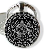 Seven Archangels Seal KEYCHAIN Black on Silver Frame Pendant USA SELLER Amulet