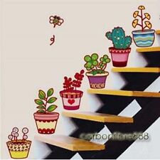 6 Colourful Flower Pots Wall Stickers Garden Plant Window Tile Home Decor