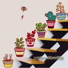 6 Colourful Flower Pots Wall Stickers Garden Plant Window Tile Home Decor